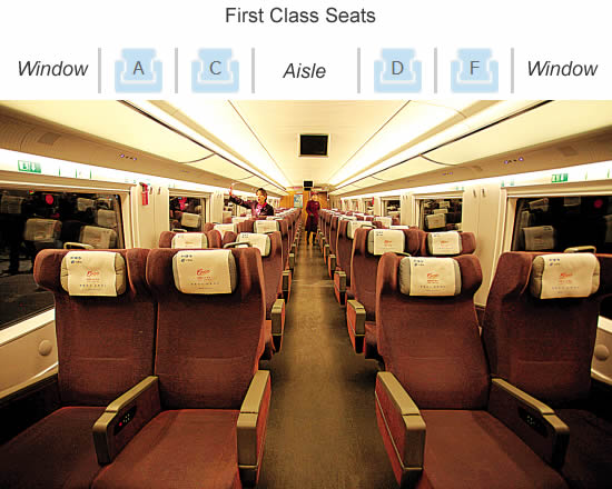 First Class seats in high-speed trains