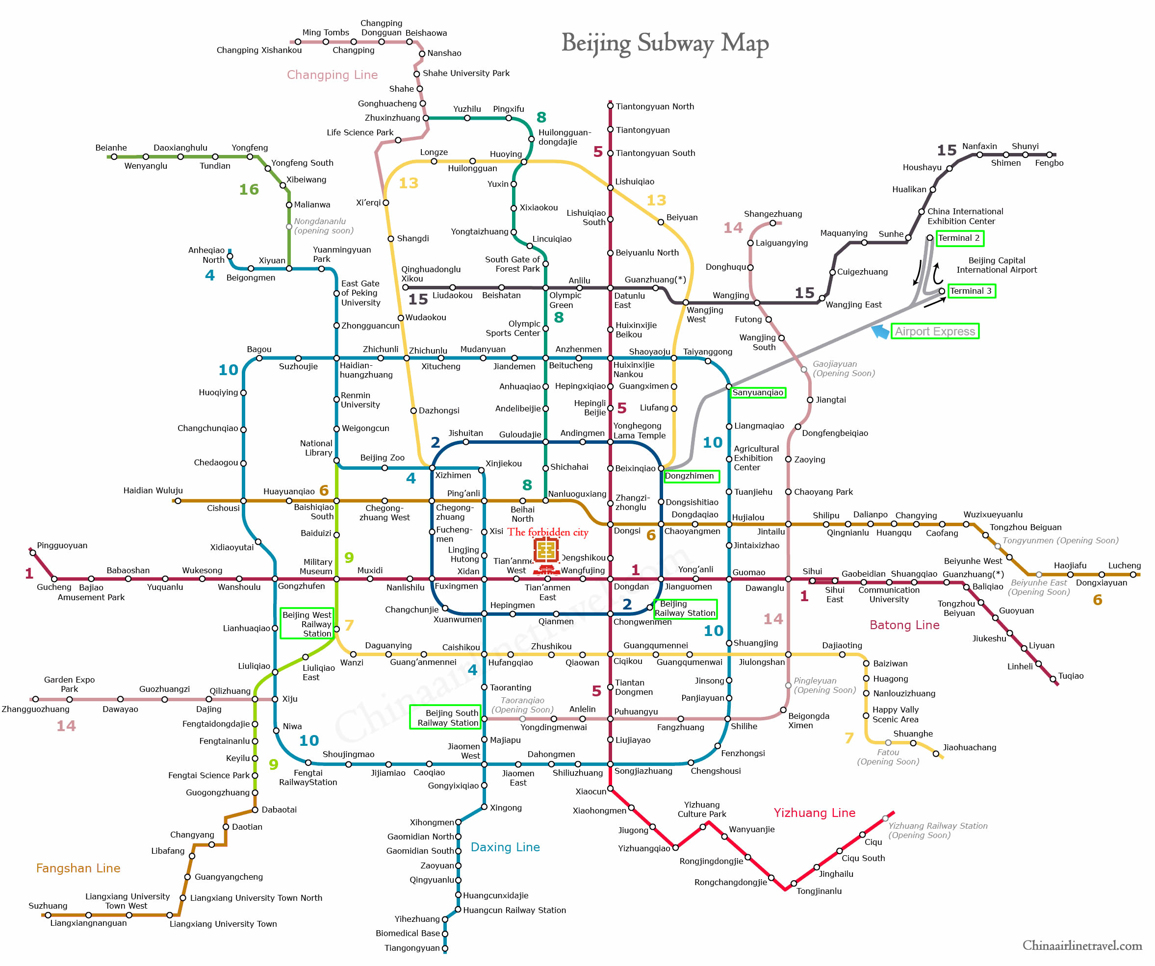 Kunming Metro Map.Beijing Airport Express Railway Map Peking Airport Terminal 2 And