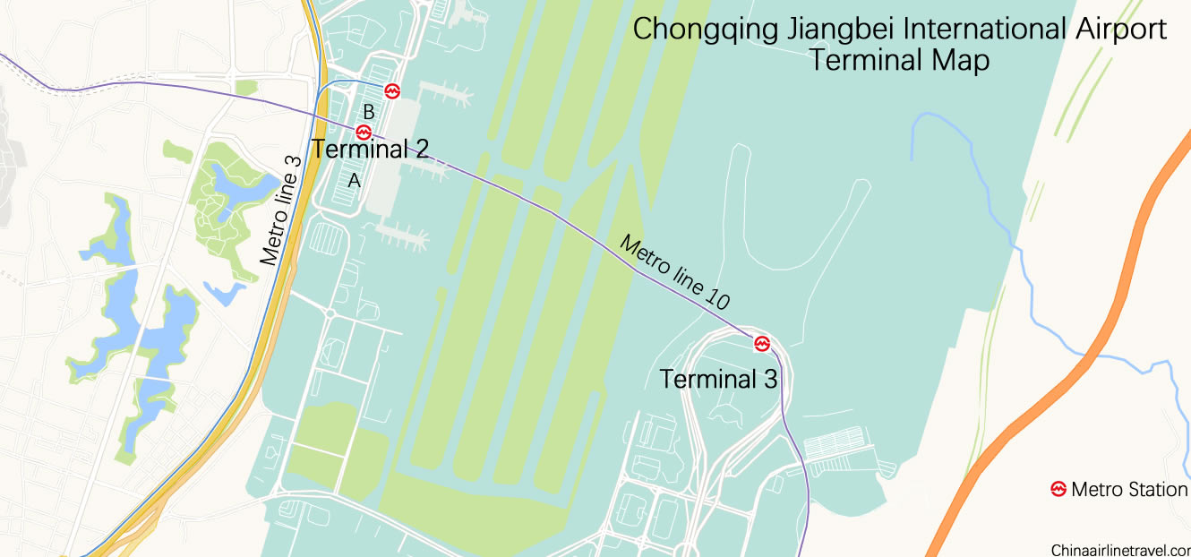 T3 and T2 map, Chongqing Jiangbei Airport, CKG airport