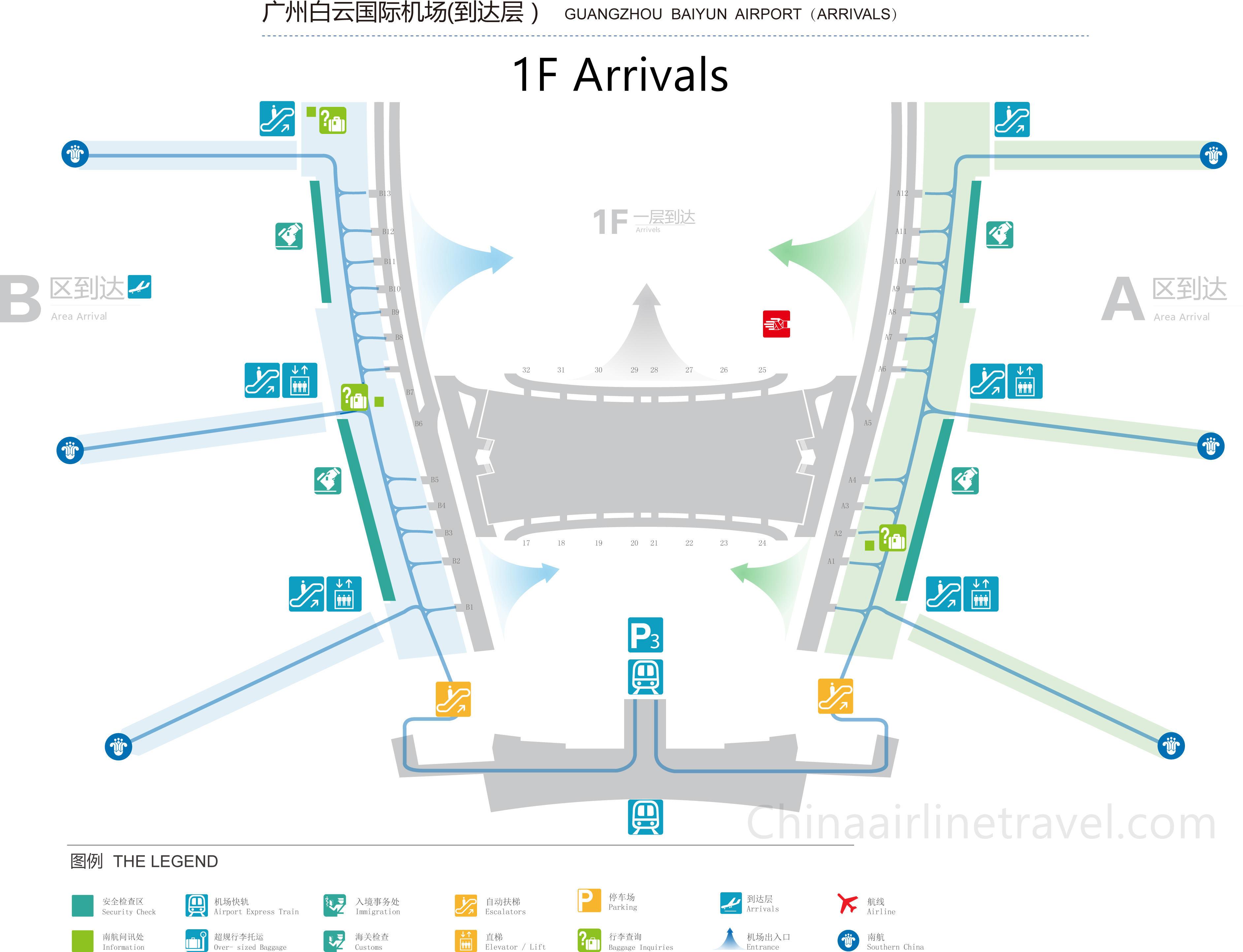 guangzhou baiyun airport map Terminal 1 Layout Plan Of Guangzhou Baiyun Airport T1 Layout guangzhou baiyun airport map