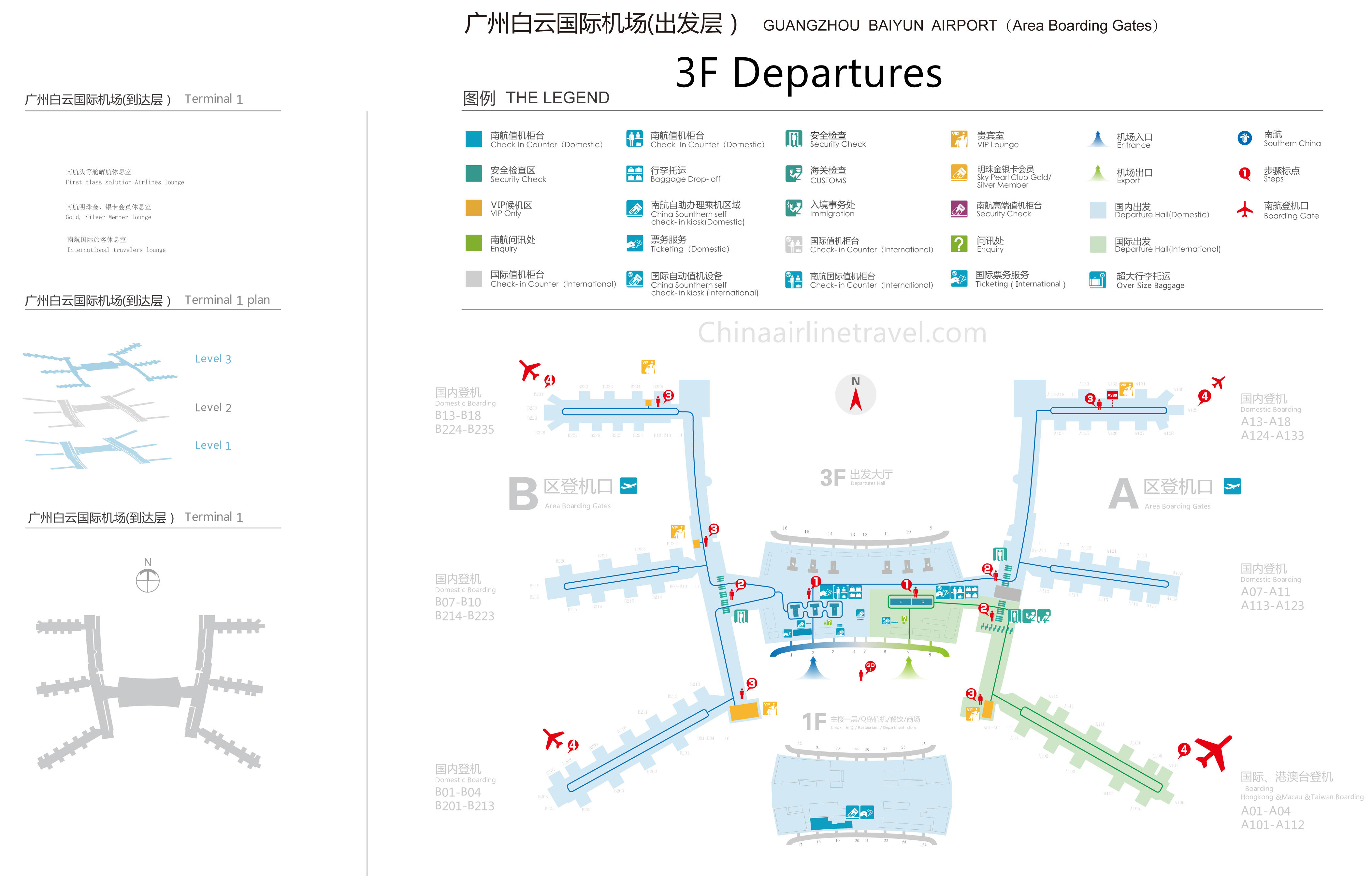 Guangzhou Baiyun Airport Map Terminal 1 Layout plan of Guangzhou Baiyun Airport, T1 layout