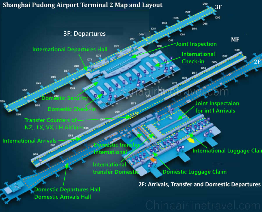 Pvg Airport Map Shanghai Pudong Airport Terminal 1 and Terminal 2 Map, T1, T2
