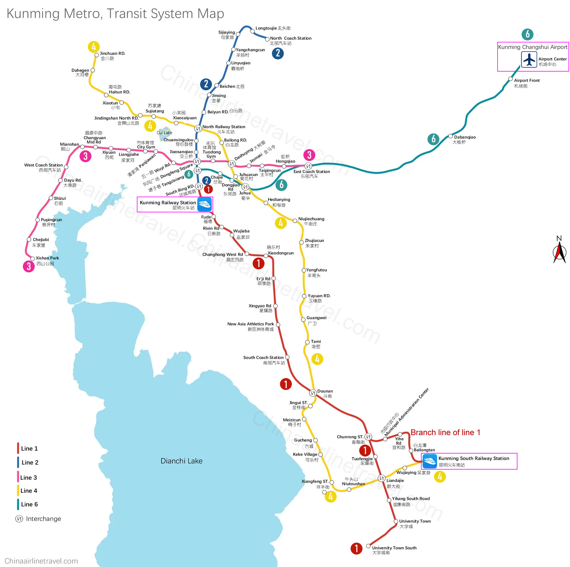Kunming metro map, subway, Kunming Rail Transit map