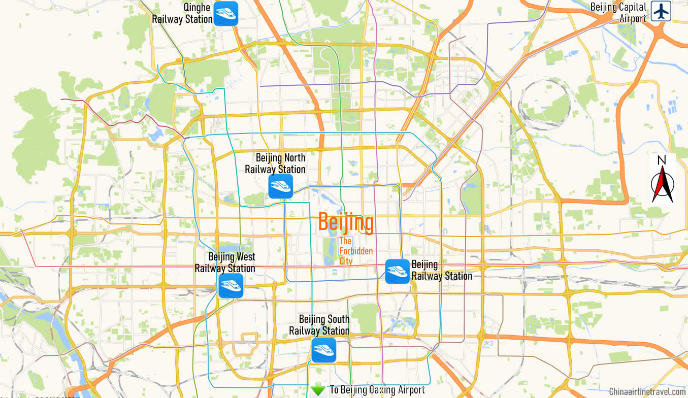 Map of Beijing North Railway Station, Map of Beijing North high speed train station, location