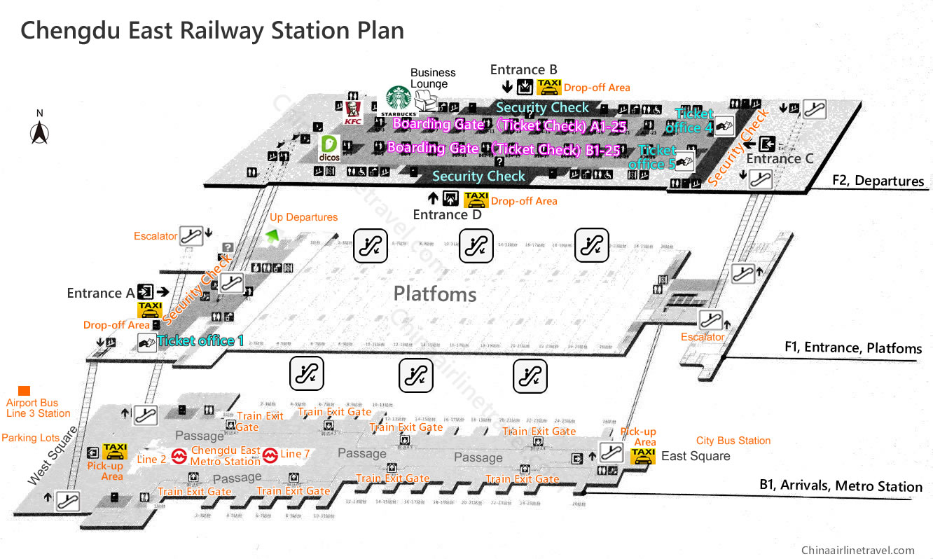 layout, plan, map of Chengdu East Railway Station, Chengdu Dong train station map