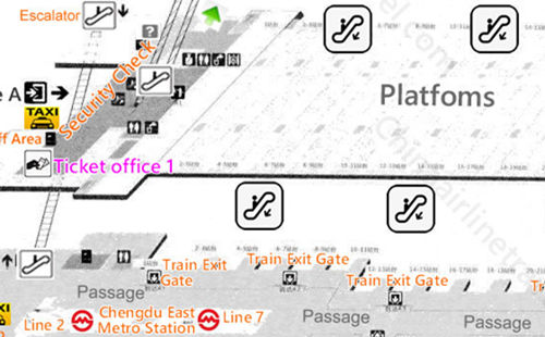 Layout, plan map of Chengdu East Railway station