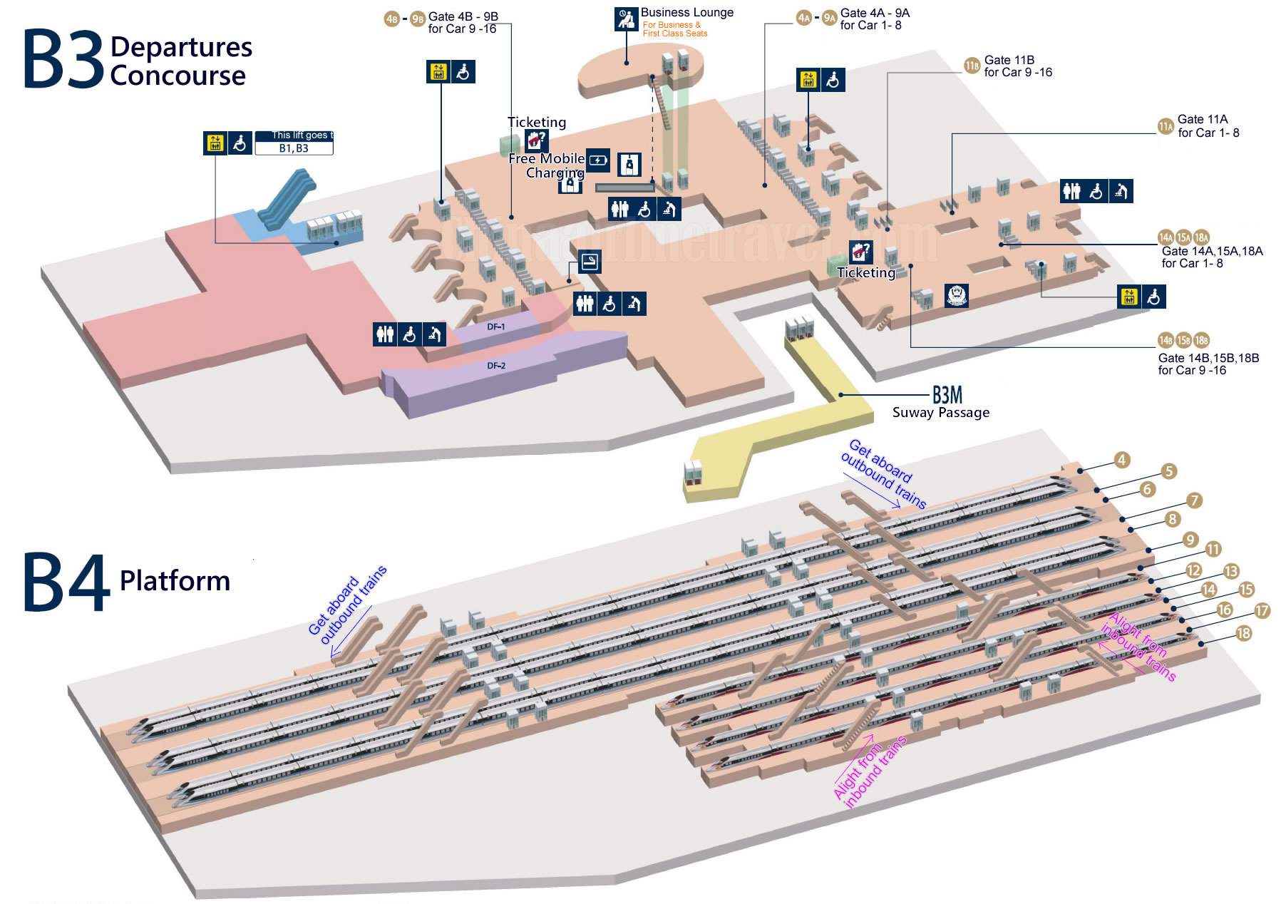 layout, plan map of B3, B4 Level, Hong Kong West Kowloon Railway Station
