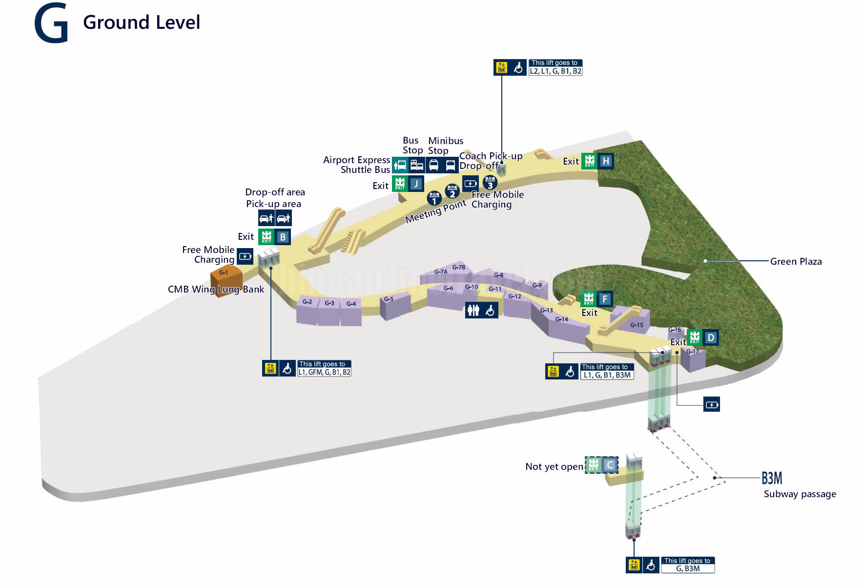 layout, plan map of Level G, Hong Kong West Kowloon Railway Station