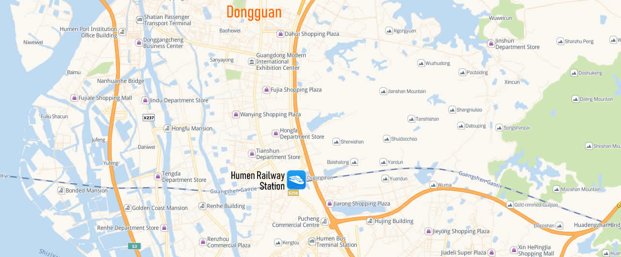 Map of Humen Railway Station, Map of Humen high speed train station, location