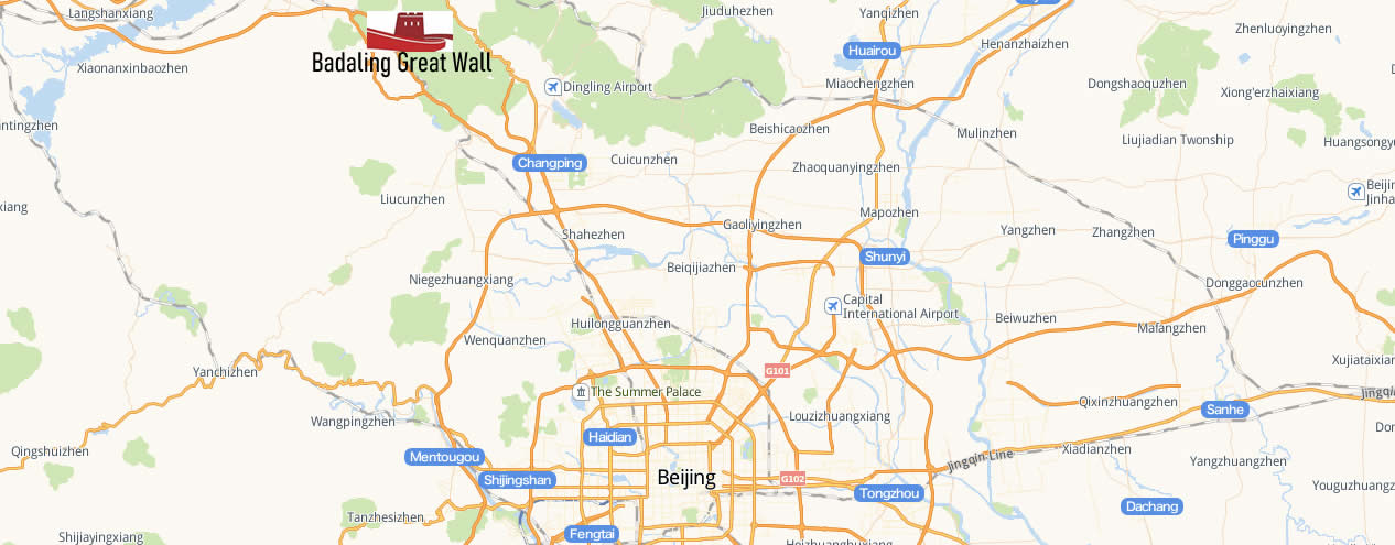Map of Badaling Great Wall high speed Railway Station, badalingchangcheng station Map
