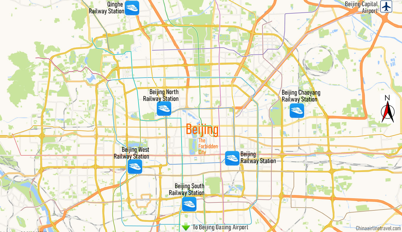 Map of Beijing Railway Station, Map of Beijing high speed train station, location