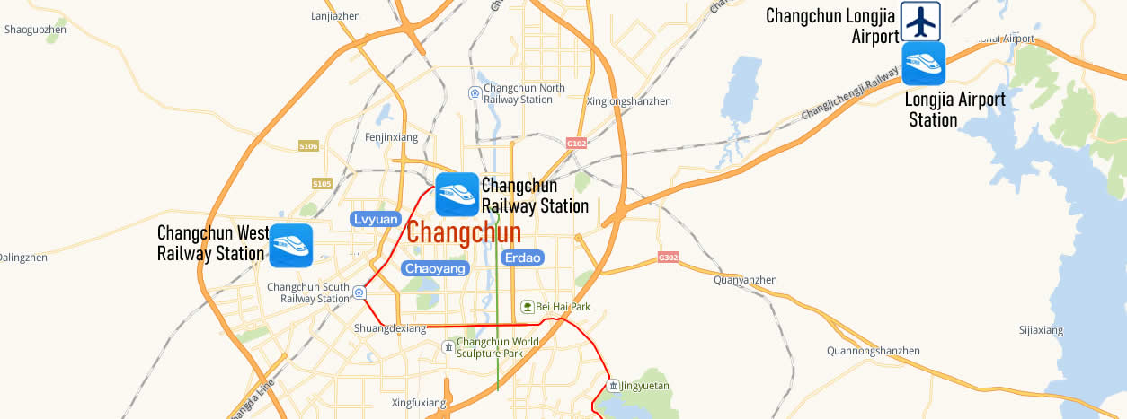 Map of Changchun Railway Station, Map of Changchun high speed train station, location