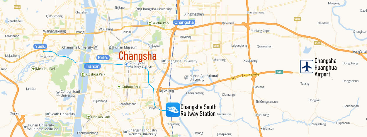 Map of Changsha South Railway Station, Map of Changsha South high speed train station, location