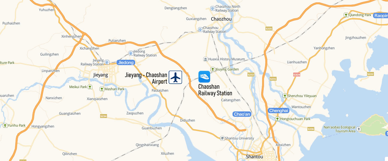 Map of Chaoshan Railway Station, Map of Chaoshan high speed train station, location