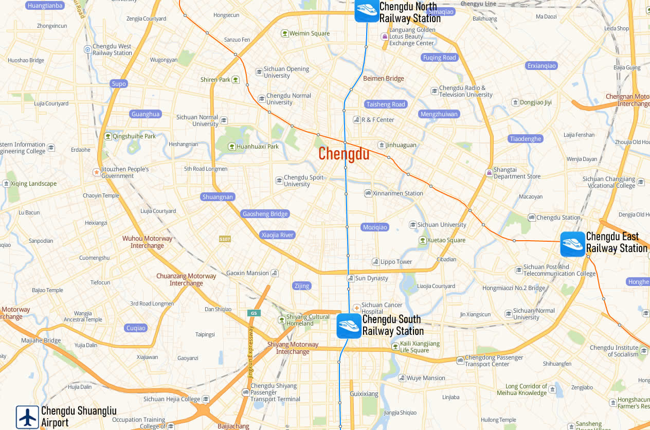 Map of Chengdu East Railway Station, Map of Chengdu Dong high speed train station, location