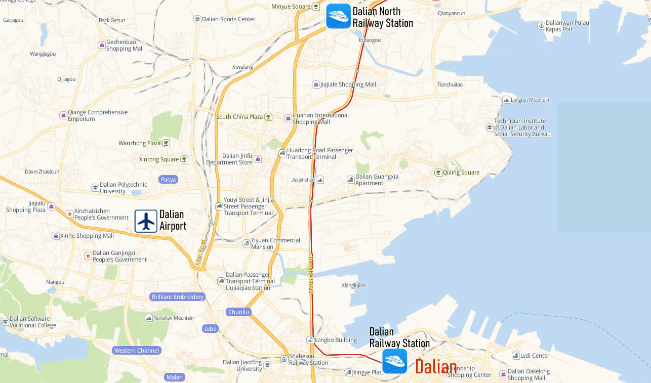Map of Dalian Railway Station, Map of Dalian high speed train station, location