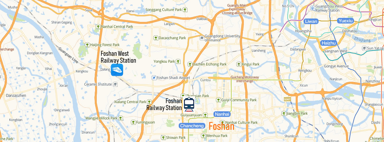 Map of Foshan West Railway Station, Map of Foshan West high speed train station, location