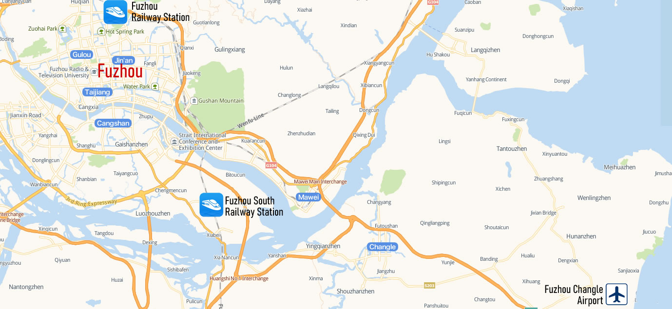 Map of Fuzhou Railway Station, Map of Fuzhou high speed train station, location