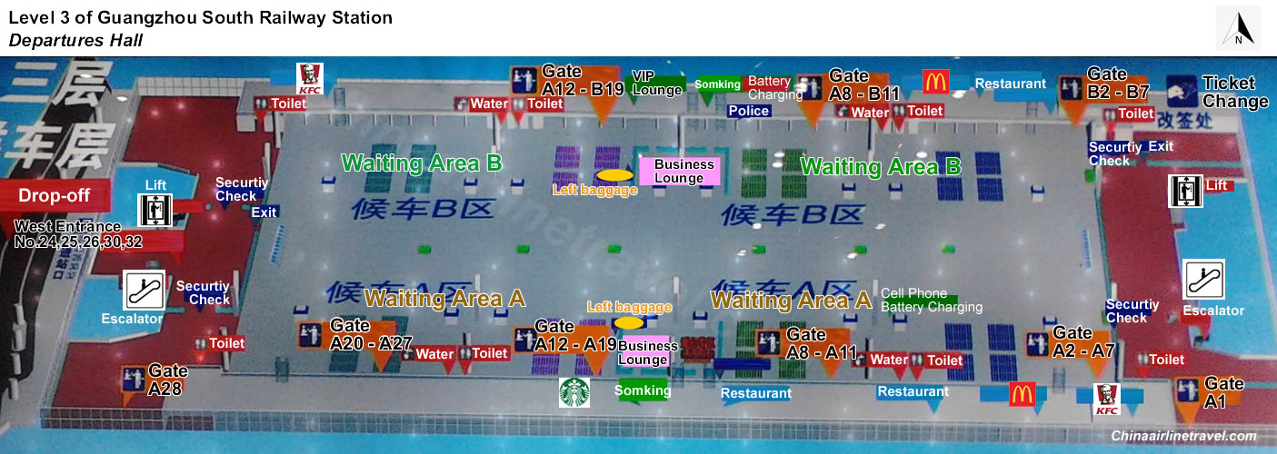 layout, plan map of Level 3, departures hall of Guangzhou Railway Railway Station