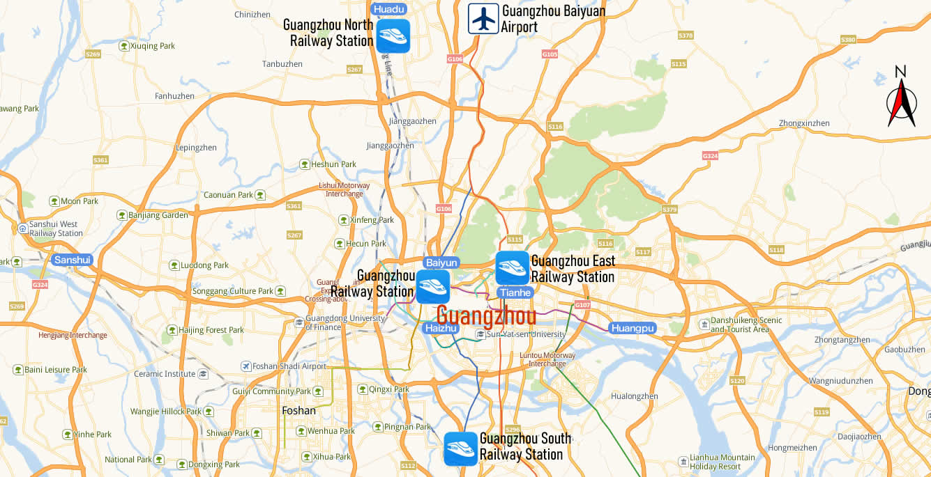 Railway stations Map of Guangzhou
