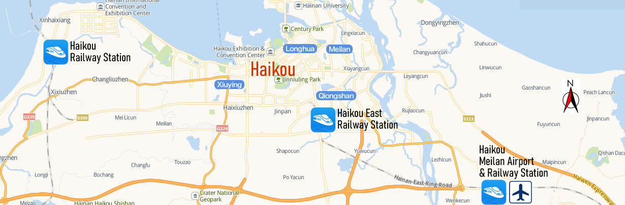 Haikou Meilan Airport Train Station Map