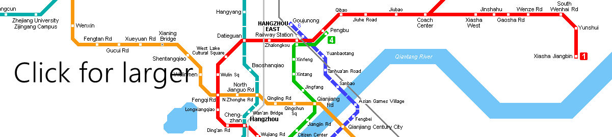 Metro Map of Hangzhou Railway Station, Hangzhou Metro Map