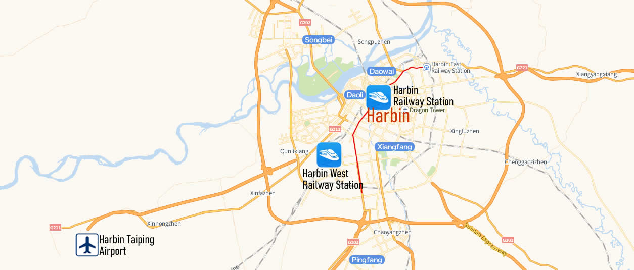 Map of Harbin Railway Station, Map of Harbin high speed train station, location