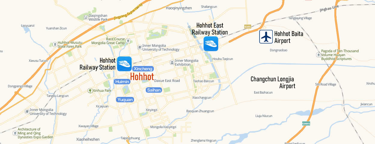 Map of Hohhot East Railway Station, Map of Hohhot high speed train station, location