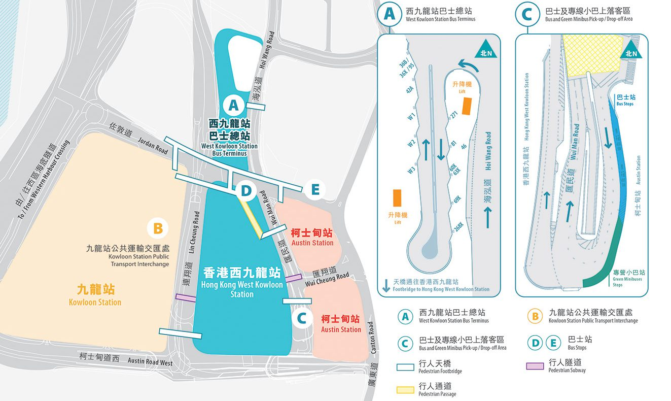 Hong Kong West Kowloon Railway Station, Bus station map, Bus terminus map