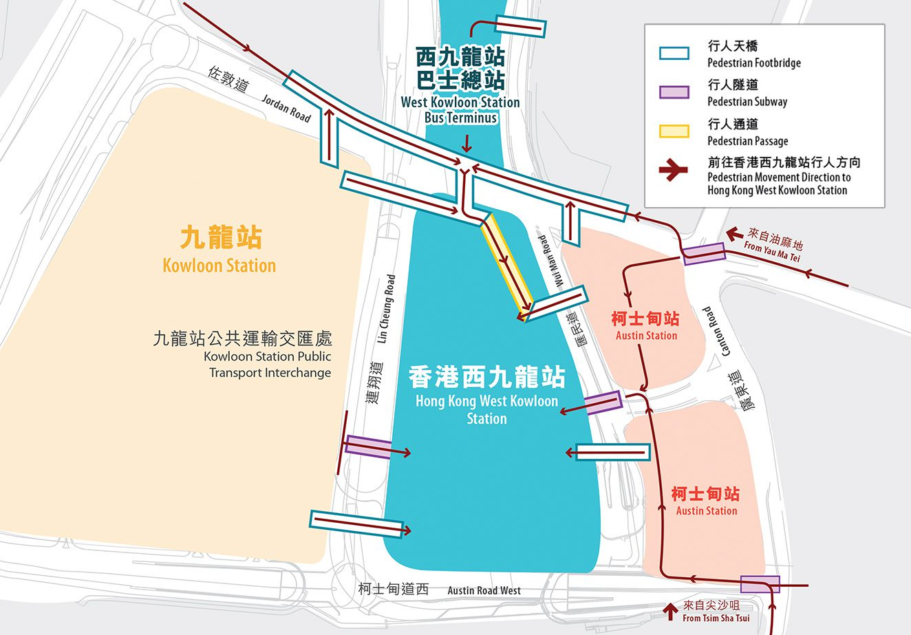 Pedestrian facilities map to Hong Kong West Kowloon Railway Station Hong Kong from Kowloon metro station and Austin Metro Station