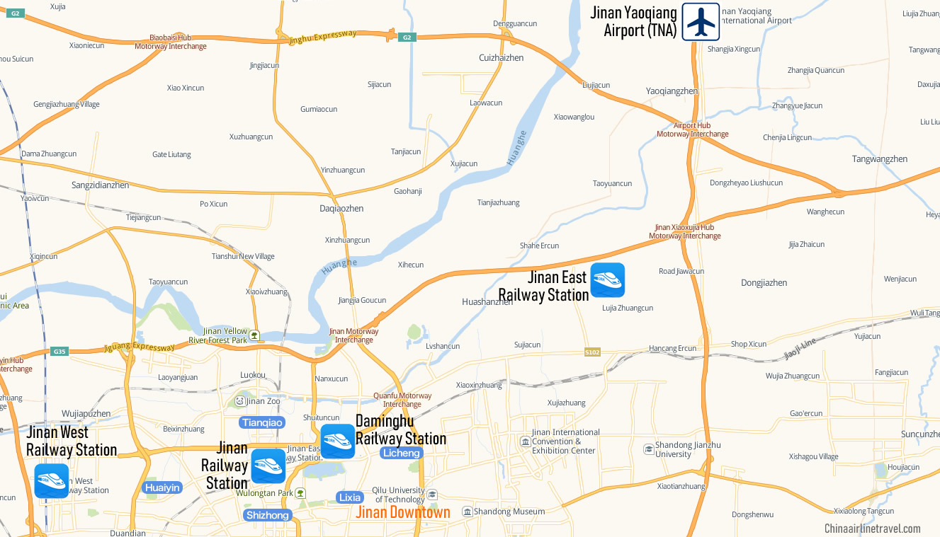 Map of Railway Stations in Jinan