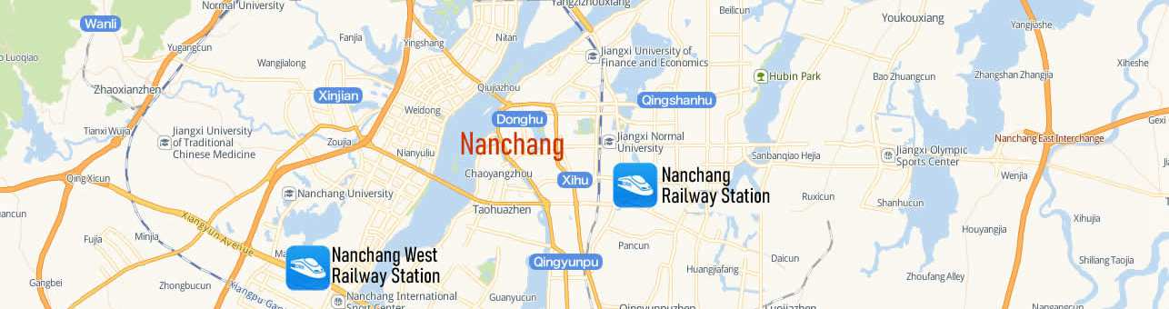 Map of Nanchang Railway Station, Map of Nanchang high speed train station, location