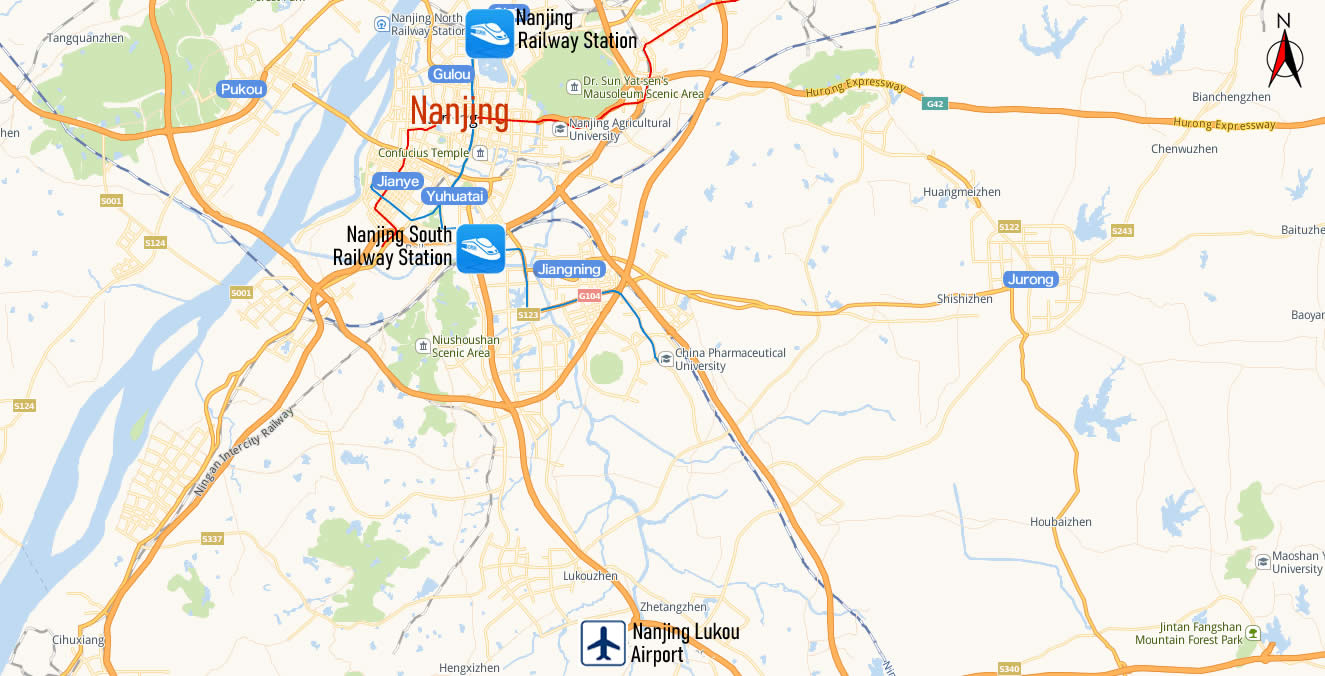 Map of Nanjing Railway Station, Map of Nanjing high speed train station, location