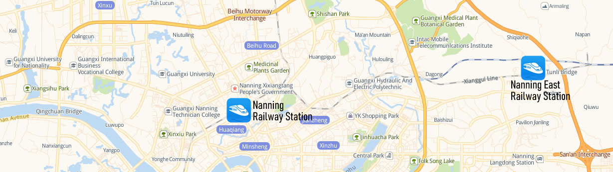 Nanning East Railway station Map, Nanning Dong Train Station Map
