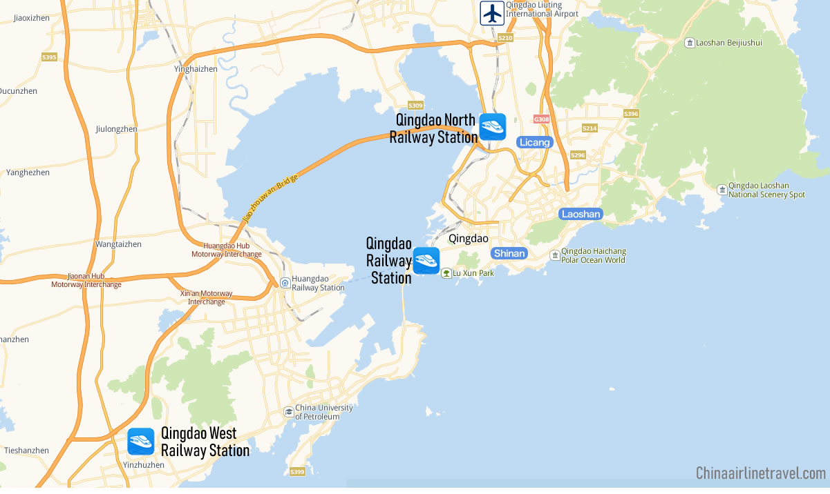 Map of Railway Stations in Qingdao