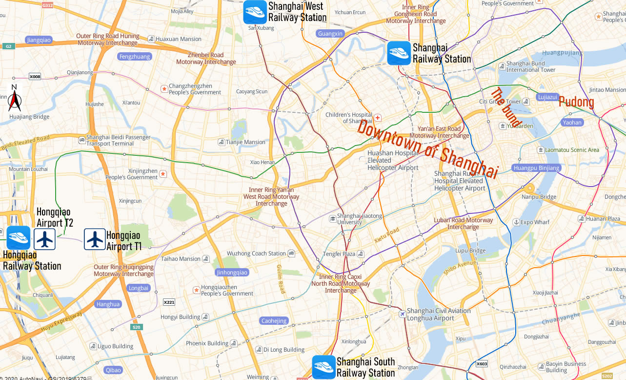 Map of railway stations in Shanghai