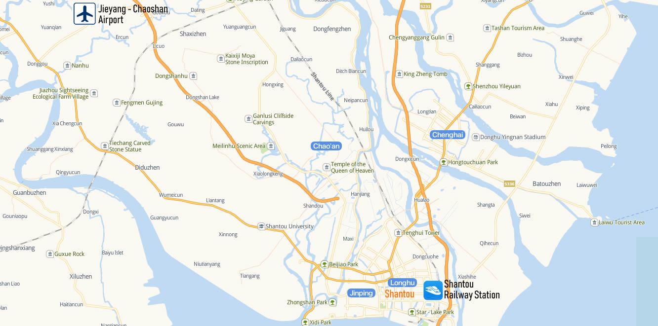 Map of Shantou Railway Station, Map of Shantou high speed train station, location