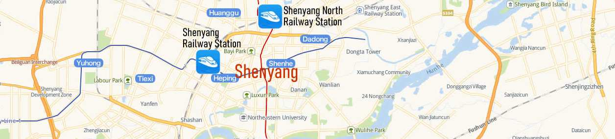 Map of Shenyang North Railway Station, Map of Shenyang high speed train station, location