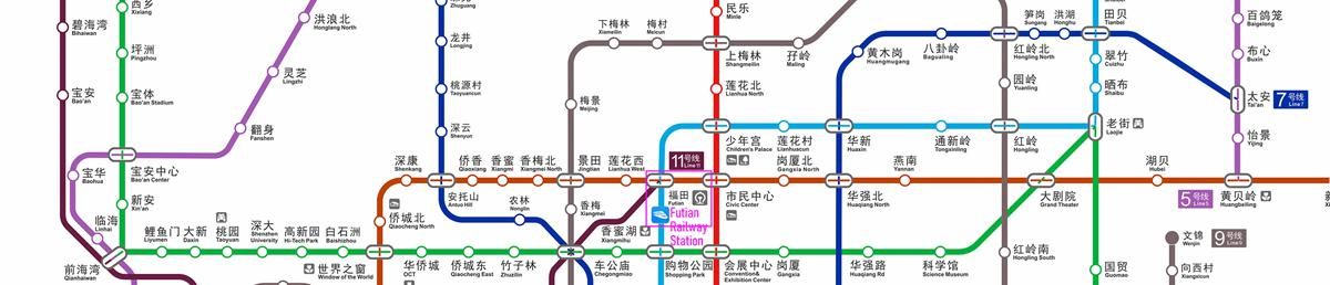 Metro Map of Shenzhen Railway Station, Shenzhen Subway Map