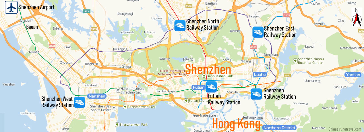 Map of Shenzhen Railway Station, Map of Shenzhen high speed train station, location