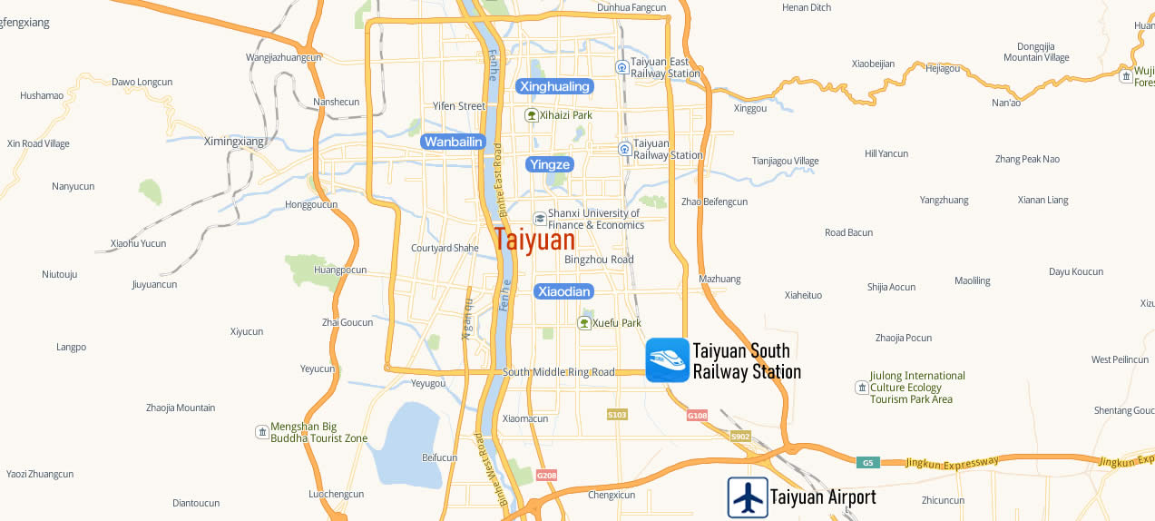 Map of Taiyuan South Railway Station, Map of Taiyuan South high speed train station, location