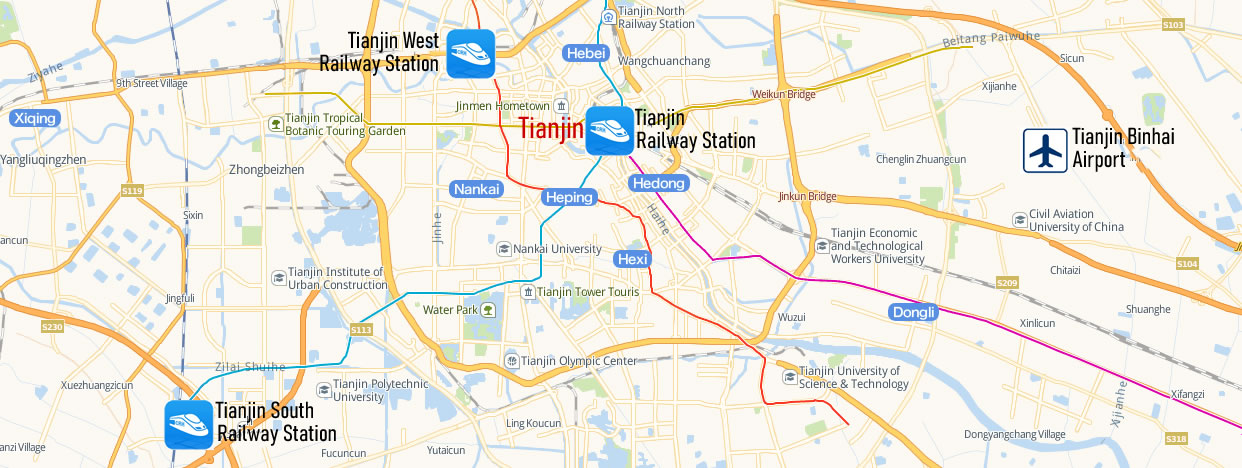 Map of Tianjin West Railway station, Tianjin Xi Train Station Map
