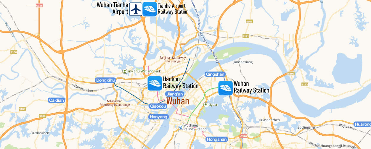 Map of Wuhan Railway Station, Map of Wuhan high speed train station, location