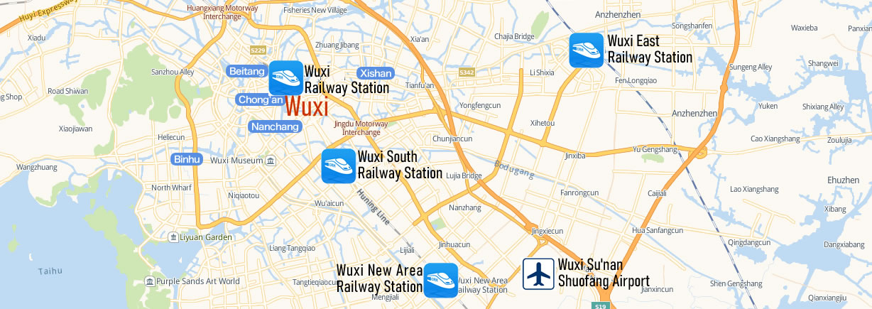 Map of Wuxi East Railway station, Wuxi Dong Train Station Map