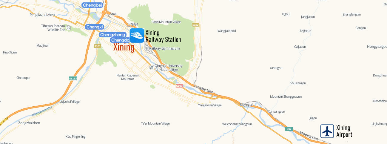 Map of Xining Railway Station, Map of Xining high speed train station, location