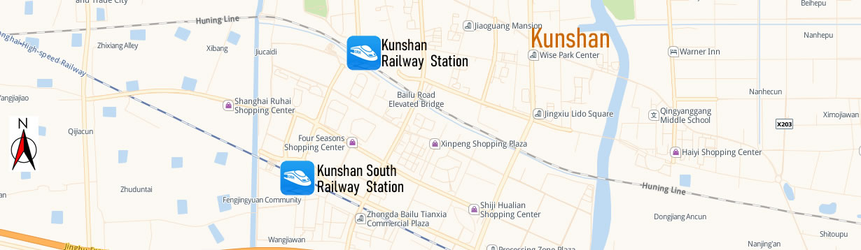 Map of Kunshan Railway Station, Map of Kunshan high speed train station, location