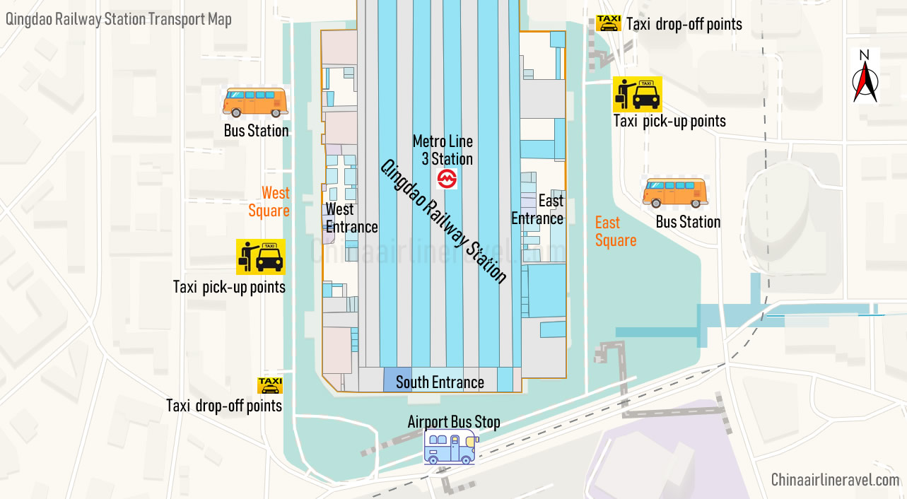 Qingdao Railway Station transport map, bus station, taxi point, metro line 3 station, map, location