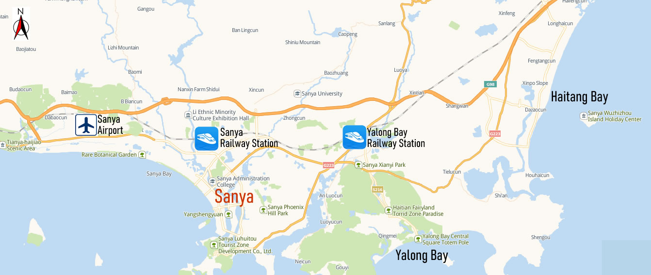 Sanya Railway Station Map, Map of Sanya high speed train station, location
