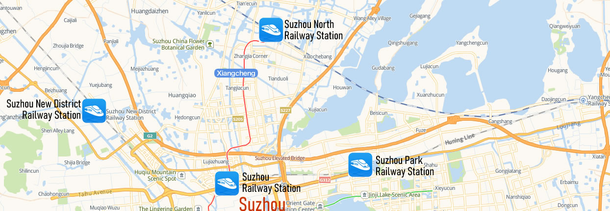 Map of Suzhou North Railway Station, Map of Suzhou North high speed train station, location