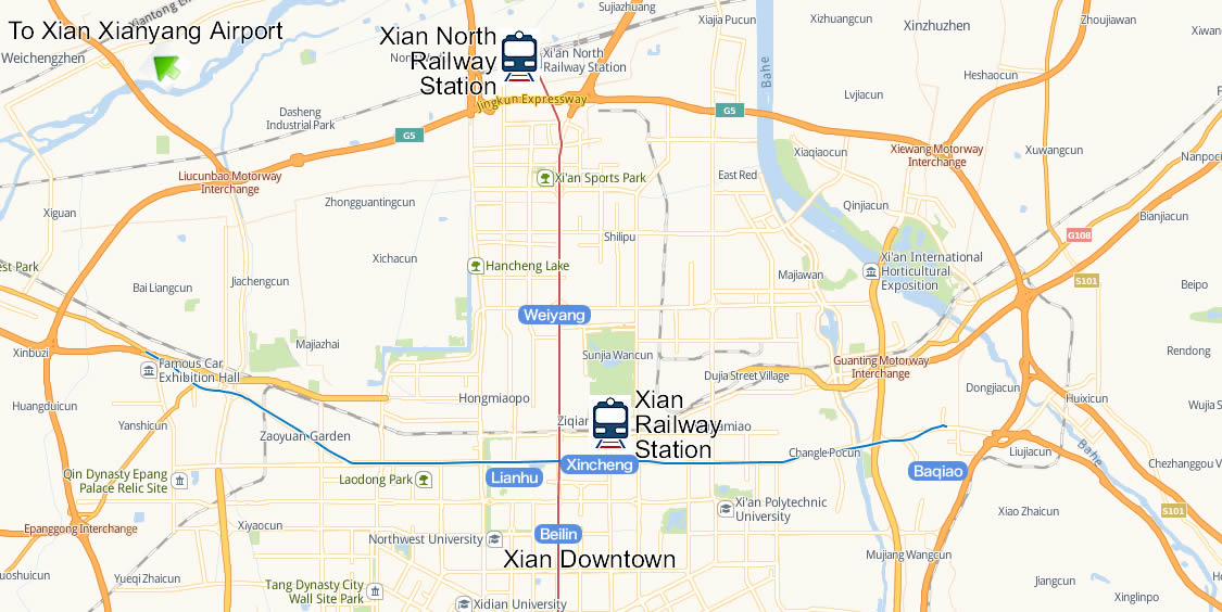 Map of Xian North Railway Station, Map of Xian Bei high speed train station, location